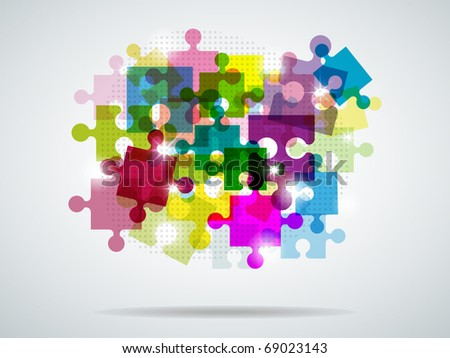 Vector picture with colorful puzzle and bright light - stock vector