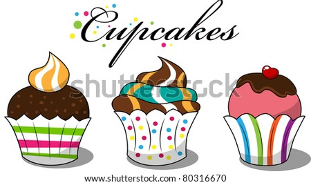Vector picture with 3 cupcakes - stock vector