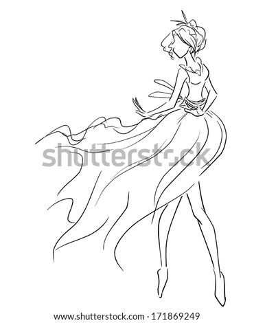 Vector picture with elegant dancing woman in light airy dress