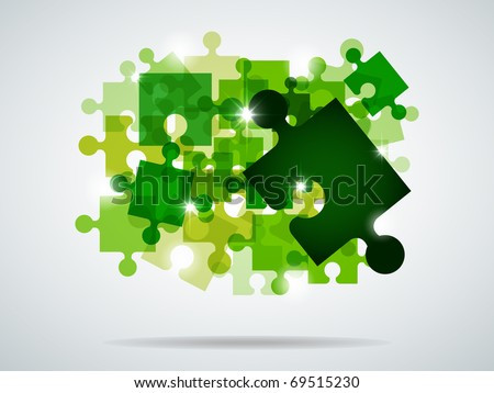 Vector picture with green puzzle and bright light - stock vector