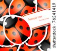 Vector picture with ladybug stickers - stock vector