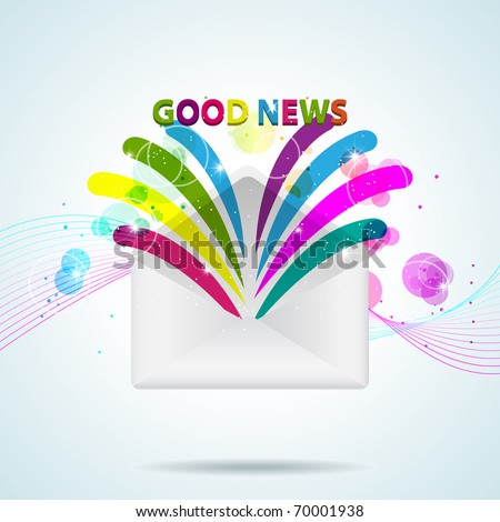 Vector picture with letter and Good News - stock vector