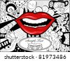 Vector picture with lips, bizarre background and space for your text - stock vector