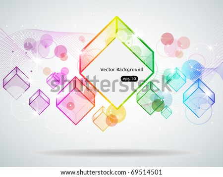 Vector picture with multi colored cubes - stock vector