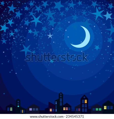 Vector picture with night town under the moonlight