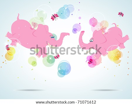 Vector picture with pink flying elephants