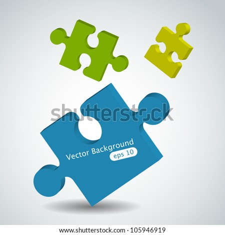 Vector picture with puzzle pieces - stock vector
