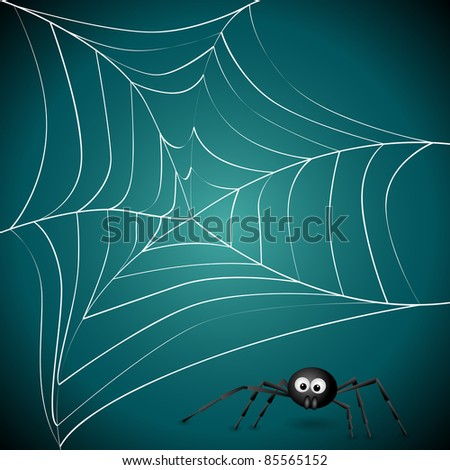 Vector picture with spider net - stock vector