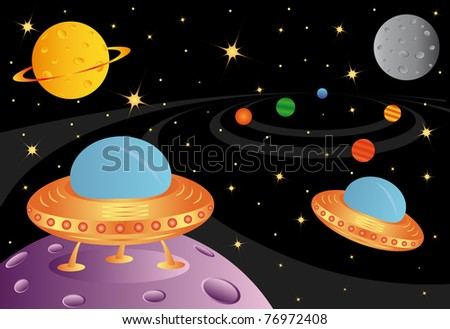 Vector picture with two spaceships in the universe - stock vector