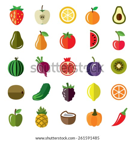 vector pictures of fruits and vegetables icons - stock vector