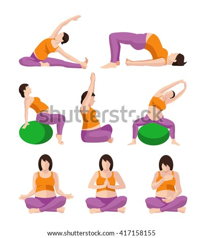 Vector pictures set of Pregnant Woman Exercises. Pregnant Yoga. Planking Or Stretching (some with Exercise Balance Ball) - stock vector
