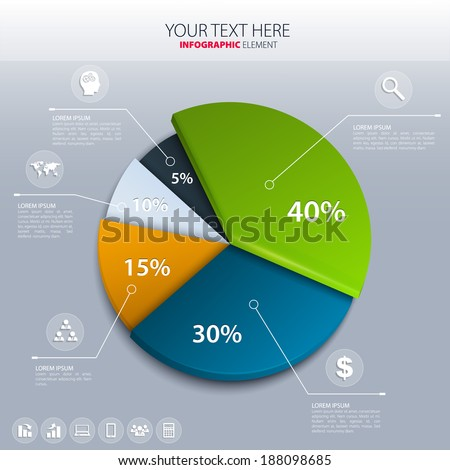 Vector pie chart - business statistics. - stock vector