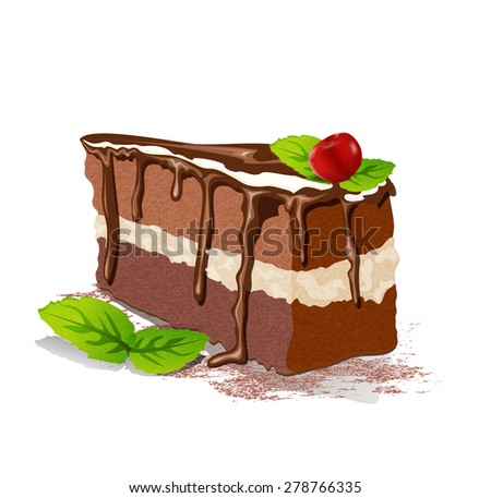 Vector piece of cake with cream and cherry on a white background - stock vector