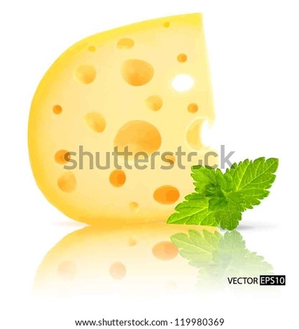 Vector piece of cheese with holes and mint leaf isolated on white background. - stock vector