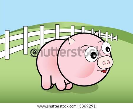 Vector pig on a farm - stock vector