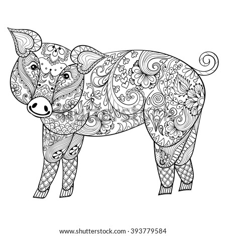Volwassen Kleurplaat Hert Vector Pig Zentangle Pig Illustration Swine Stock Vektor