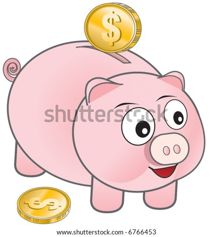 Vector Piggy Bank - stock vector