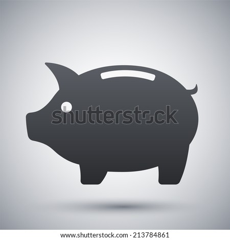 Vector piggy bank icon - stock vector