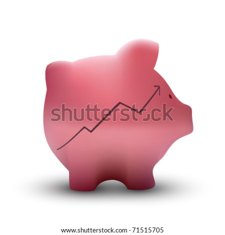 vector piggy bank illustration - stock vector