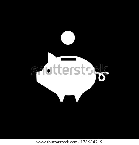 vector piggy money bank icon | flat design white pictogram on black background - stock vector