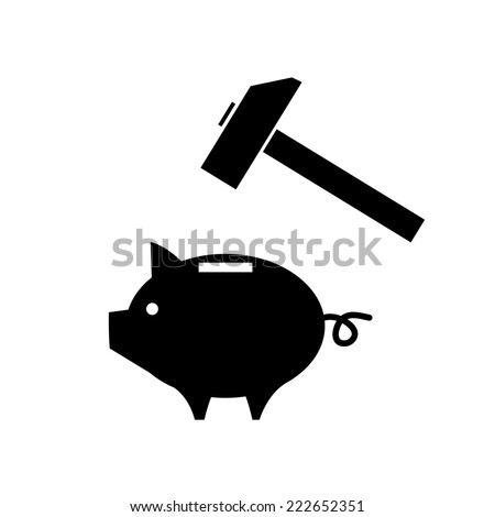 vector piggy money bank icon with hammer ready to strike | modern black flat design pictogram isolated on white background