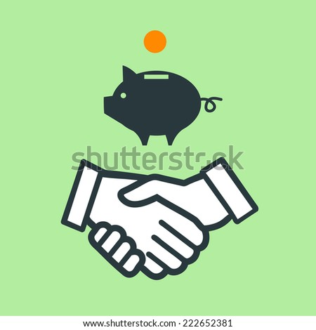 vector piggy money bank with handshake icon | modern flat design pictogram isolated on green background - stock vector