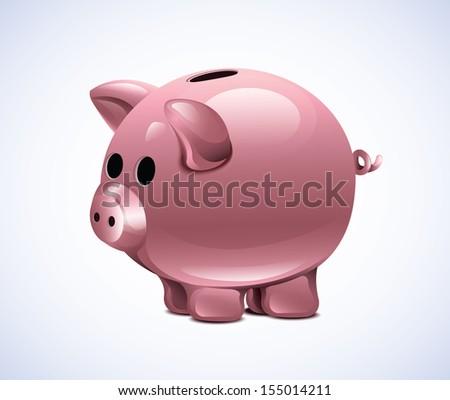 Vector Piggy Moneybox - stock vector