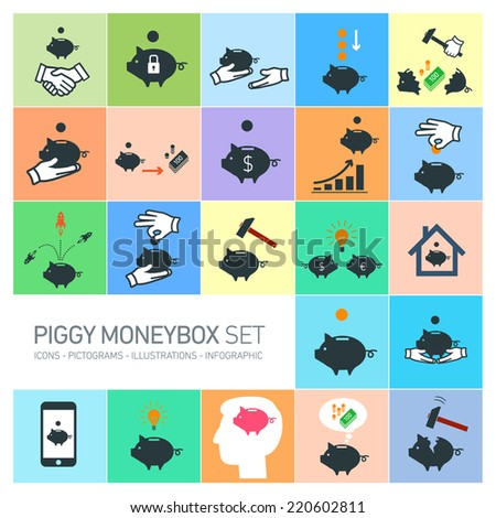 vector piggy moneybox and money bank icons set | modern flat design pictograms and illustrations isolated on colorful background - stock vector