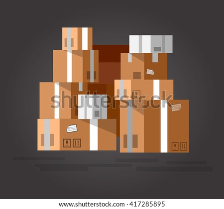 Vector Pile of stacked sealed goods cardboard boxes. Detailed mail box. Delivery box. Vector mail box. Illustration box - stock vector