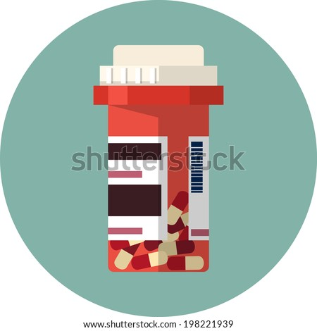 Vector pill bottle with capsule pills  - stock vector