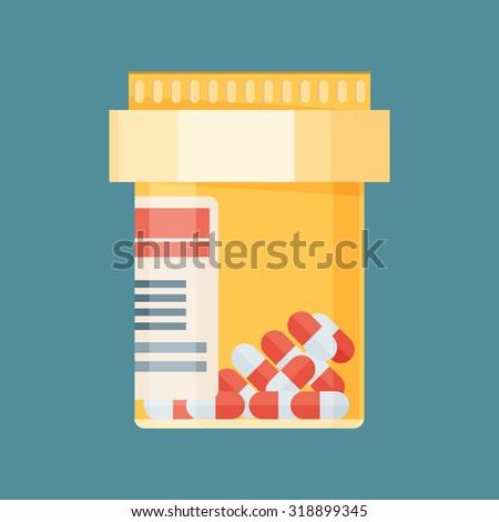 Vector pill bottle with capsule pills - stock vector