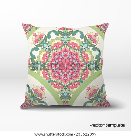 Vector pillow with oriental round floral pattern. Delicate green and pink. - stock vector