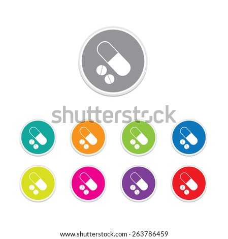 Vector - pills and capsules button. Round stickers.  - stock vector