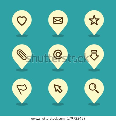 Vector Pin Iconset - Office  - stock vector