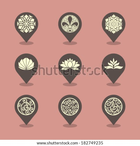 Vector Pin Iconset - Ornaments  - stock vector