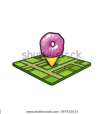 vector pin on map pink donut pin for a bakery shop on the Green Card on white background