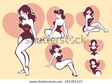 vector pin up collection - stock vector