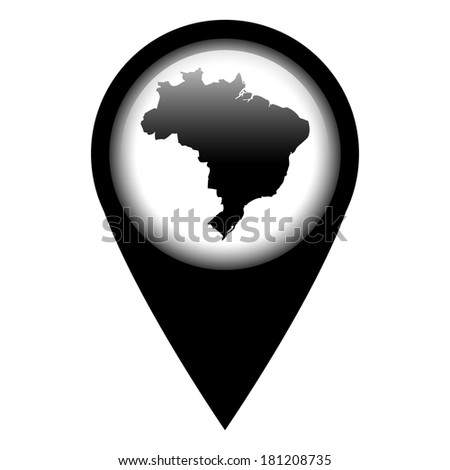 Vector pin with the map in - Brazil - stock vector