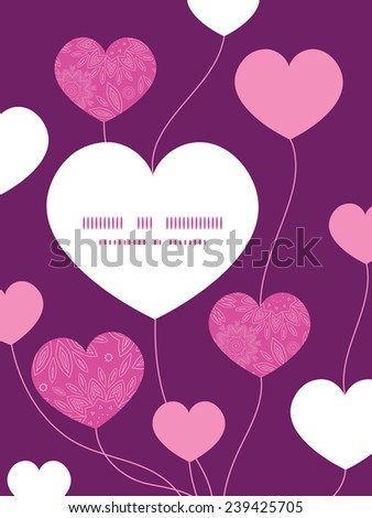 Vector pink abstract flowers texture heart symbol frame pattern invitation greeting card template