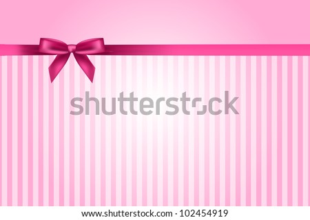 Vector pink background with bow - stock vector