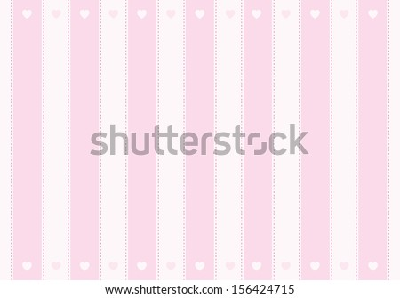 Vector pink background with stripes and heart - stock vector