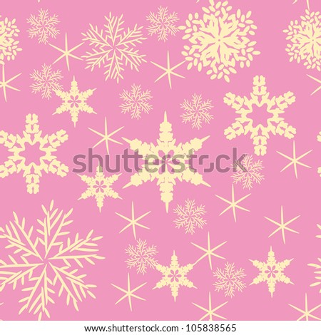 Vector pink background with various snowflakes. Abstract gentle illustration