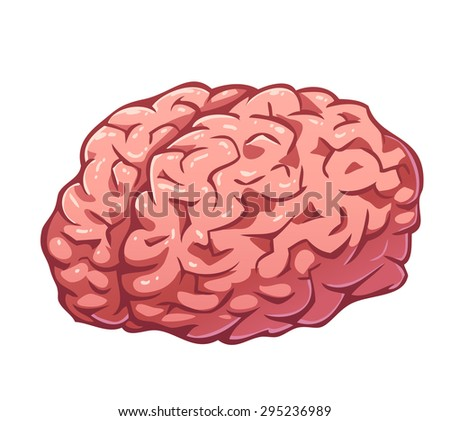Vector pink brain isolated on white - stock vector