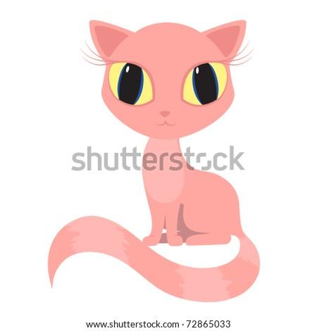 Pink Kitten Drawing Vector Pink Cat Kitty Pussicat