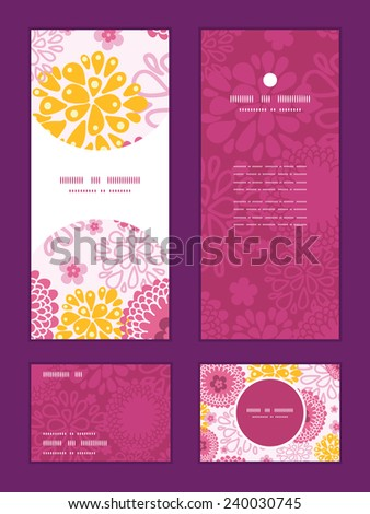 Vector pink field flowers vertical frame pattern invitation greeting, RSVP and thank you cards set - stock vector