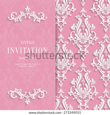 Vector Pink Floral 3d Wedding Invitation Background Template - stock vector
