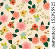 Vector pink floral seamless pattern - stock