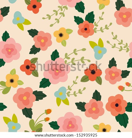 Vector pink floral seamless pattern - stock vector
