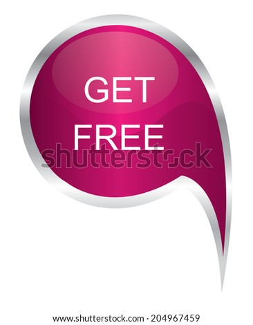 Vector - pink get free icon speech bubble - stock vector