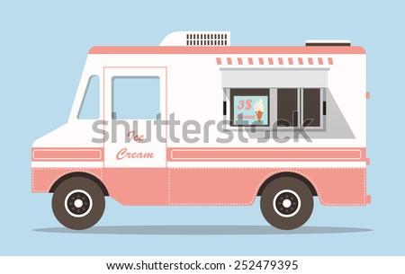 Vector pink ice cream truck - stock vector